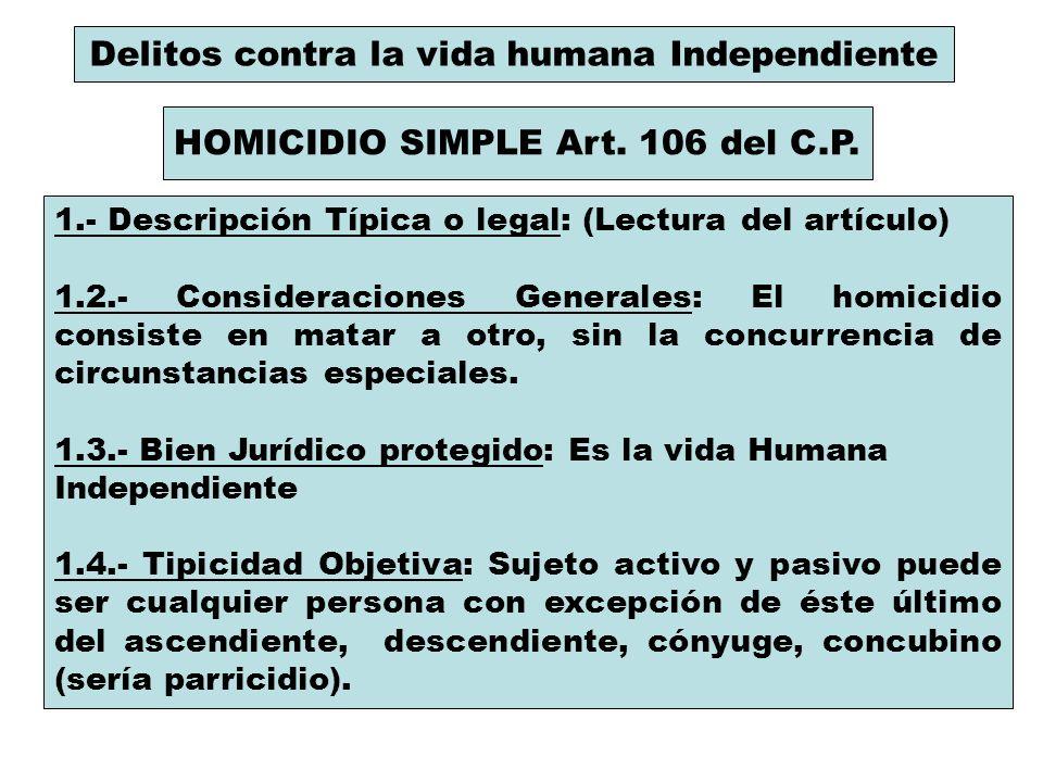 Delitos contra la vida humana Independiente HOMICIDIO SIMPLE Art. 106 del C.P. 1.- Descripción Típica o legal: (Lectura del artículo) 1.2.- Considerac