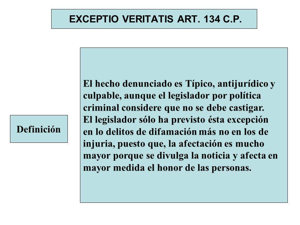 EXCEPTIO VERITATIS ART. 134 C.P. Definición El hecho denunciado es Típico, antijurídico y culpable, aunque el legislador por política criminal conside