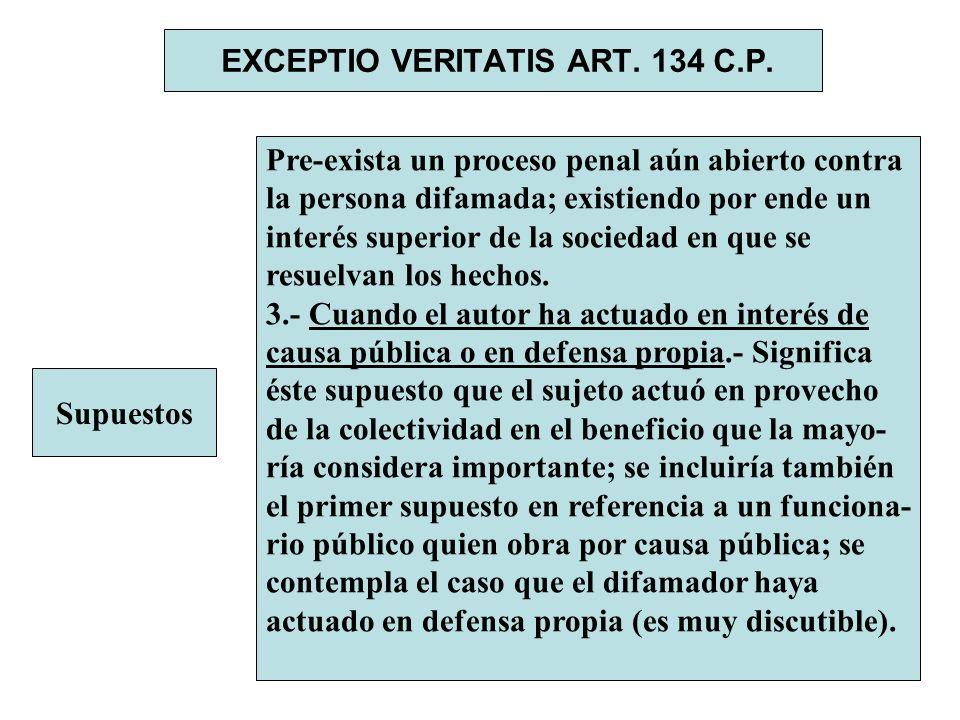 EXCEPTIO VERITATIS ART. 134 C.P. Supuestos Pre-exista un proceso penal aún abierto contra la persona difamada; existiendo por ende un interés superior