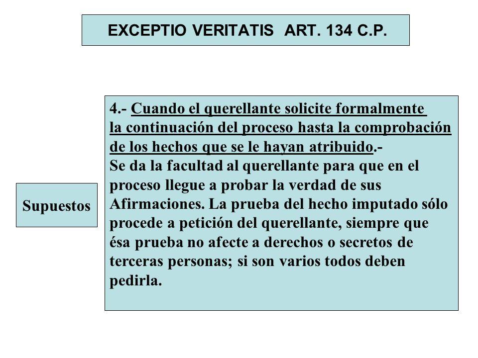 EXCEPTIO VERITATIS ART. 134 C.P. Supuestos 4.- Cuando el querellante solicite formalmente la continuación del proceso hasta la comprobación de los hec