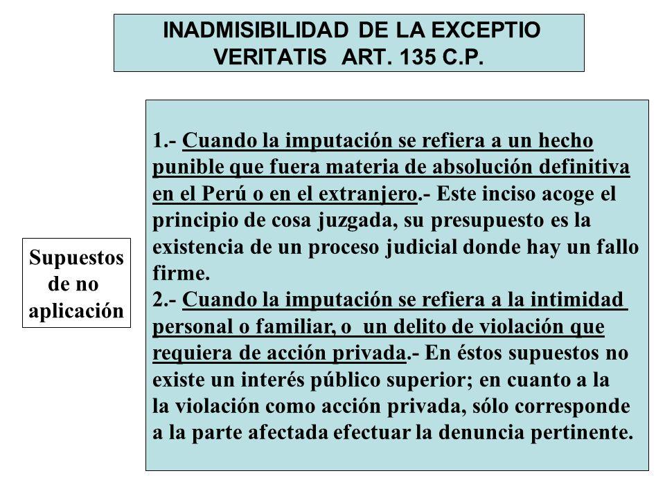 INADMISIBILIDAD DE LA EXCEPTIO VERITATIS ART. 135 C.P. Supuestos de no aplicación 1.- Cuando la imputación se refiera a un hecho punible que fuera mat