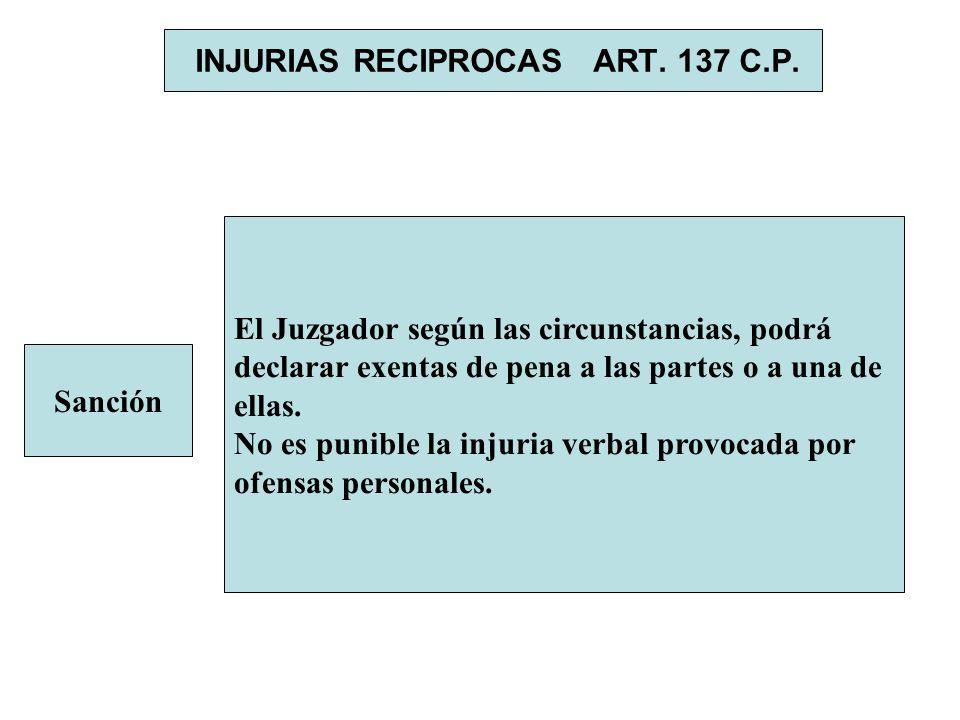 INJURIAS RECIPROCAS ART. 137 C.P. Sanción El Juzgador según las circunstancias, podrá declarar exentas de pena a las partes o a una de ellas. No es pu