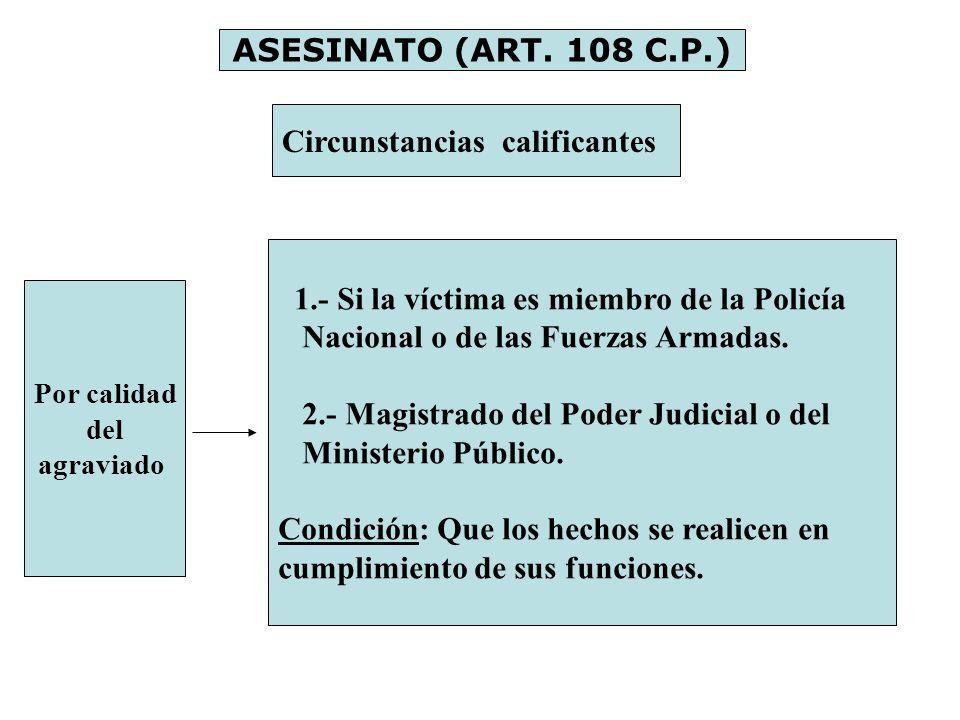 ASESINATO (ART. 108 C.P.) Circunstancias calificantes Por calidad del agraviado 1.- Si la víctima es miembro de la Policía Nacional o de las Fuerzas A