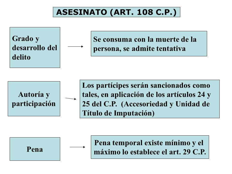 ASESINATO (ART. 108 C.P.) Grado y desarrollo del delito Se consuma con la muerte de la persona, se admite tentativa Autoría y participación Los partíc