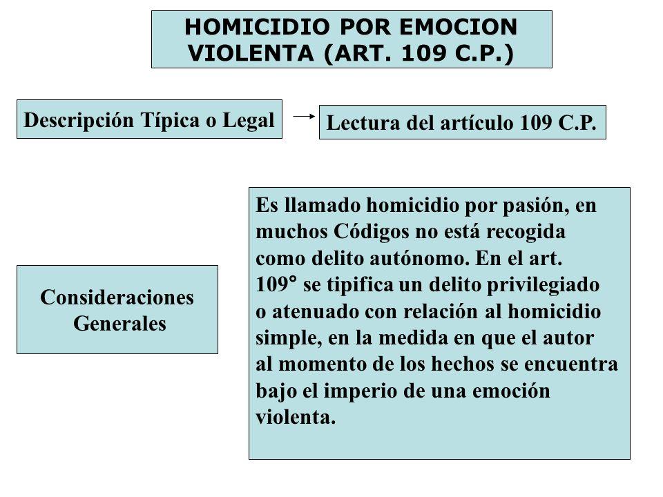 HOMICIDIO POR EMOCION VIOLENTA (ART. 109 C.P.) Descripción Típica o Legal Lectura del artículo 109 C.P. Consideraciones Generales Es llamado homicidio