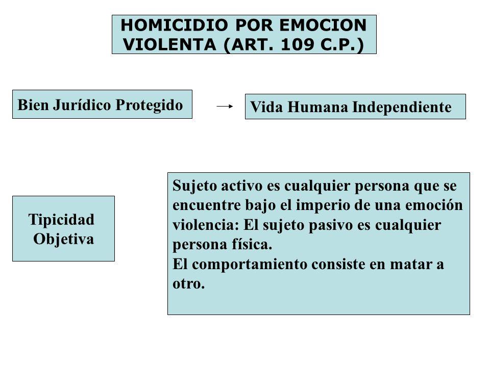 HOMICIDIO POR EMOCION VIOLENTA (ART. 109 C.P.) Bien Jurídico Protegido Vida Humana Independiente Tipicidad Objetiva Sujeto activo es cualquier persona