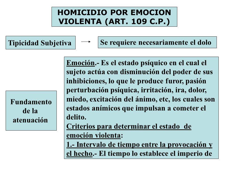 HOMICIDIO POR EMOCION VIOLENTA (ART. 109 C.P.) Tipicidad Subjetiva Se requiere necesariamente el dolo Fundamento de la atenuación Emoción.- Es el esta