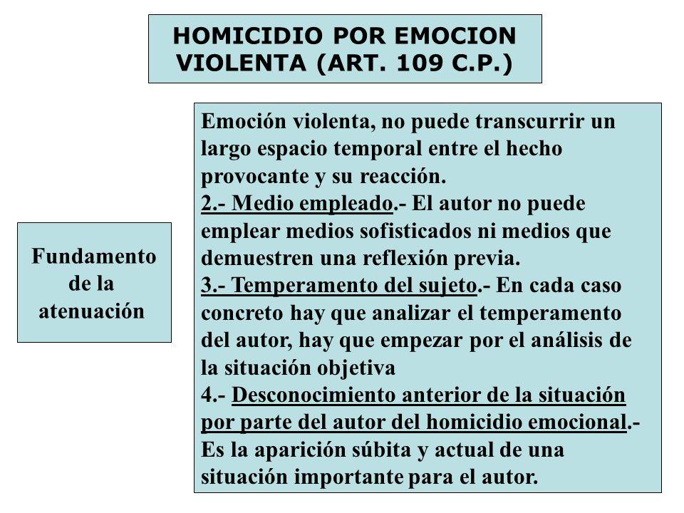 HOMICIDIO POR EMOCION VIOLENTA (ART. 109 C.P.) Fundamento de la atenuación Emoción violenta, no puede transcurrir un largo espacio temporal entre el h