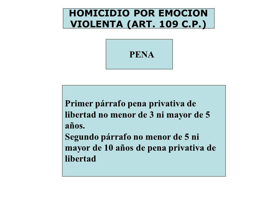 HOMICIDIO POR EMOCION VIOLENTA (ART. 109 C.P.) PENA Primer párrafo pena privativa de libertad no menor de 3 ni mayor de 5 años. Segundo párrafo no men