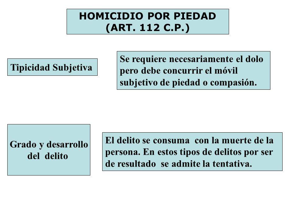 HOMICIDIO POR PIEDAD (ART. 112 C.P.) Tipicidad Subjetiva Se requiere necesariamente el dolo pero debe concurrir el móvil subjetivo de piedad o compasi