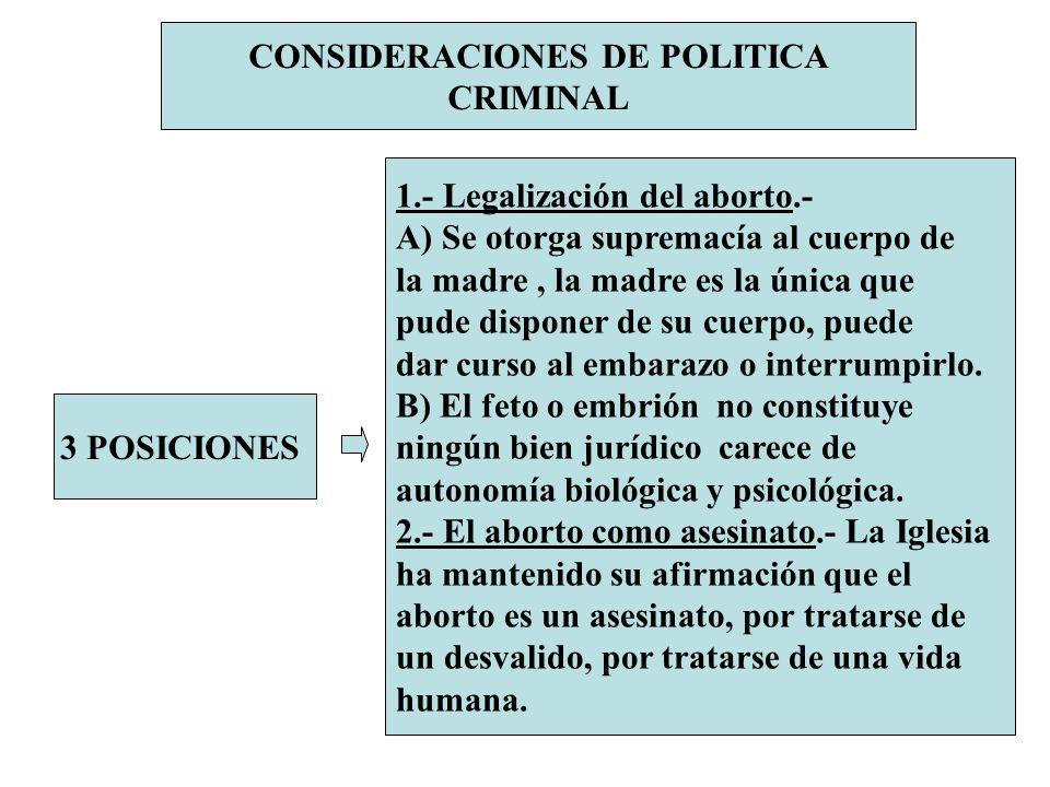 CONSIDERACIONES DE POLITICA CRIMINAL 3 POSICIONES 1.- Legalización del aborto.- A) Se otorga supremacía al cuerpo de la madre, la madre es la única qu