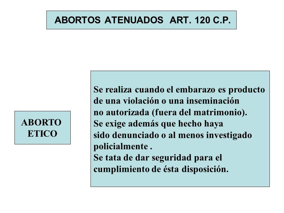 ABORTOS ATENUADOS ART. 120 C.P. ABORTO ETICO Se realiza cuando el embarazo es producto de una violación o una inseminación no autorizada (fuera del ma