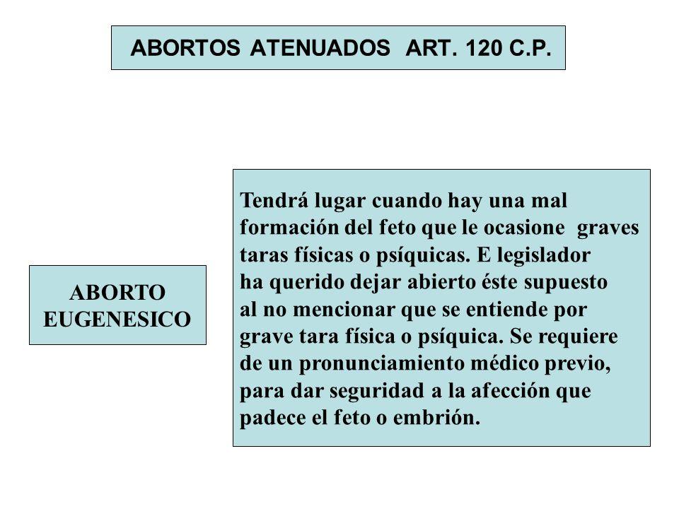 ABORTOS ATENUADOS ART. 120 C.P. ABORTO EUGENESICO Tendrá lugar cuando hay una mal formación del feto que le ocasione graves taras físicas o psíquicas.