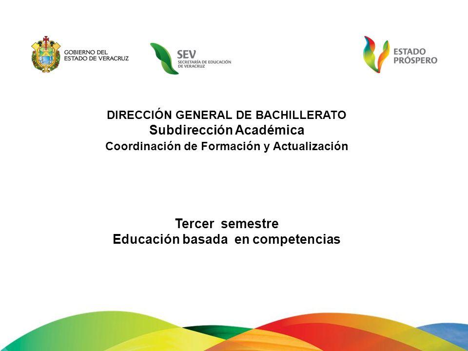 DIRECCIÓN GENERAL DE BACHILLERATO Subdirección Académica Coordinación de Formación y Actualización Tercer semestre Educación basada en competencias