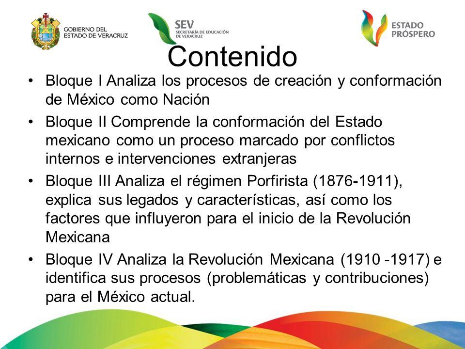 Contenido Bloque I Analiza los procesos de creación y conformación de México como Nación Bloque II Comprende la conformación del Estado mexicano como