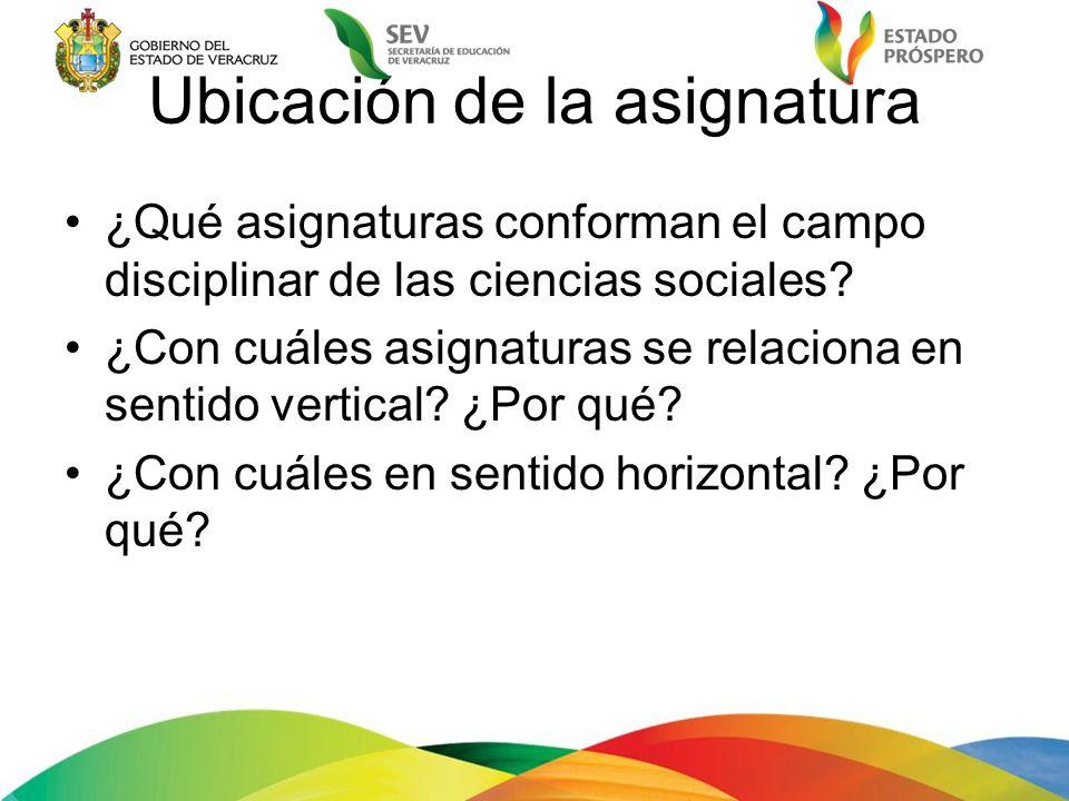 Ubicación de la asignatura ¿Qué asignaturas conforman el campo disciplinar de las ciencias sociales? ¿Con cuáles asignaturas se relaciona en sentido v