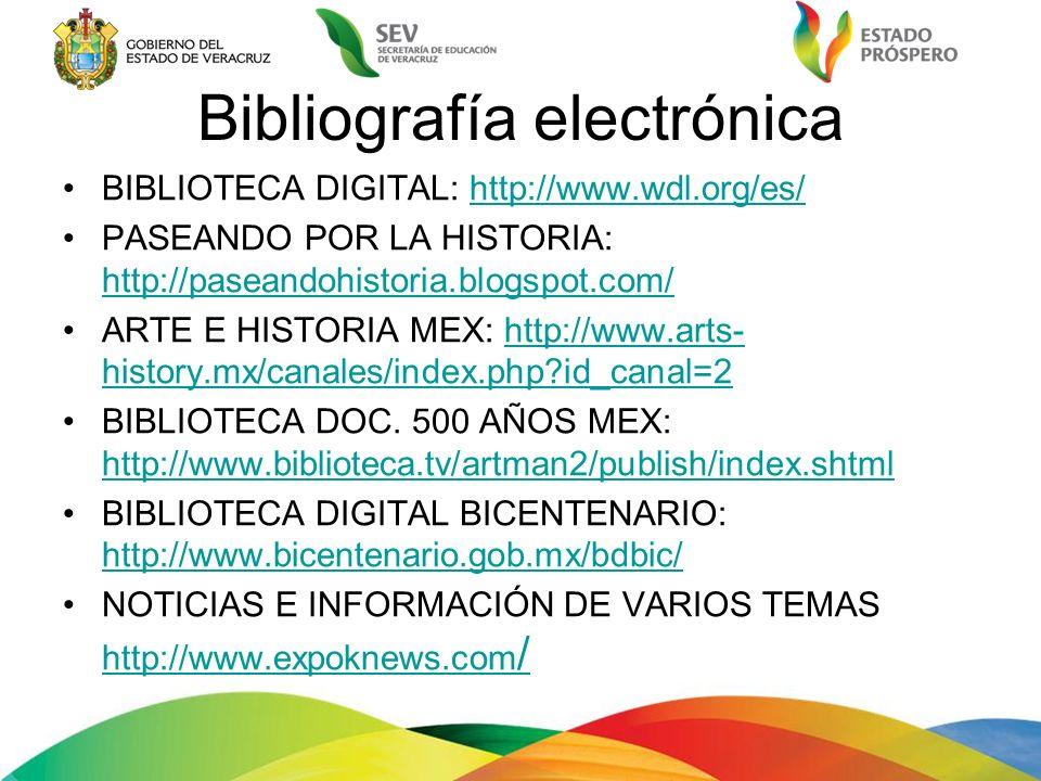 Bibliografía electrónica BIBLIOTECA DIGITAL: http://www.wdl.org/es/http://www.wdl.org/es/ PASEANDO POR LA HISTORIA: http://paseandohistoria.blogspot.c