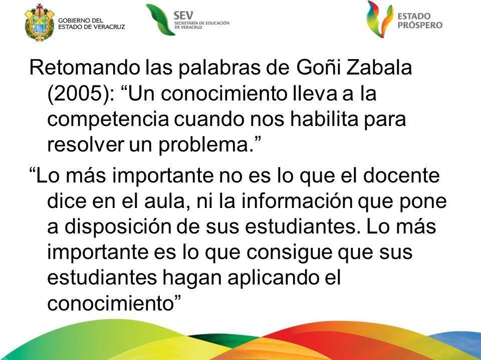 Retomando las palabras de Goñi Zabala (2005): Un conocimiento lleva a la competencia cuando nos habilita para resolver un problema. Lo más importante