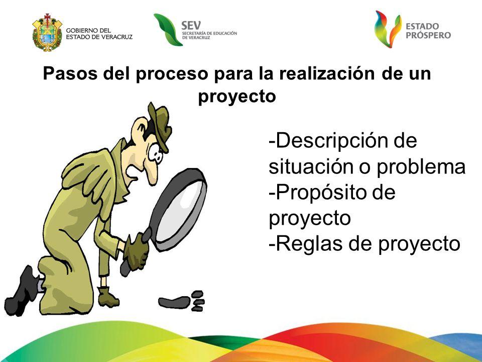 -Descripción de situación o problema -Propósito de proyecto -Reglas de proyecto Pasos del proceso para la realización de un proyecto