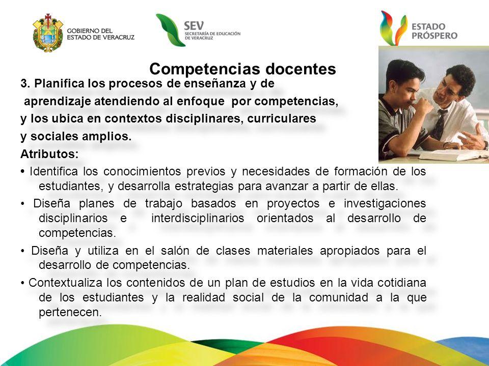 Competencias docentes 3. Planifica los procesos de enseñanza y de aprendizaje atendiendo al enfoque por competencias, y los ubica en contextos discipl