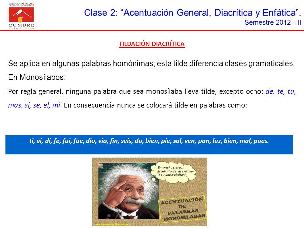 TILDACIÓN DIACRÍTICA Se aplica en algunas palabras homónimas; esta tilde diferencia clases gramaticales. En Monosílabos: Por regla general, ninguna pa