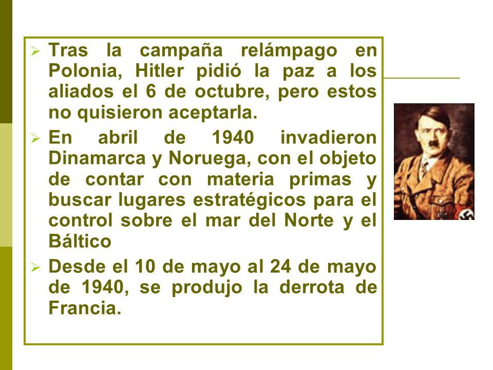 Tras la campaña relámpago en Polonia, Hitler pidió la paz a los aliados el 6 de octubre, pero estos no quisieron aceptarla. En abril de 1940 invadiero