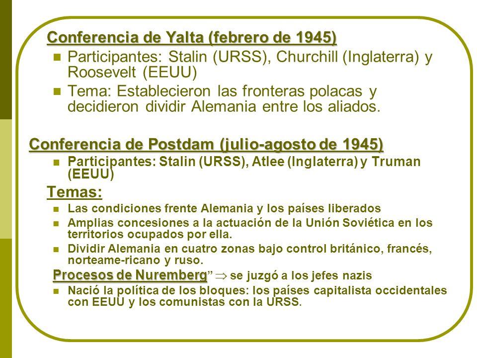 Conferencia de Yalta (febrero de 1945) Participantes: Stalin (URSS), Churchill (Inglaterra) y Roosevelt (EEUU) Tema: Establecieron las fronteras polac
