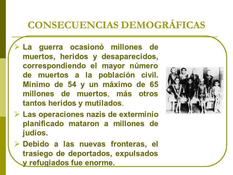 CONSECUENCIAS DEMOGRÁFICAS La guerra ocasionó millones de muertos, heridos y desaparecidos, correspondiendo el mayor número de muertos a la población