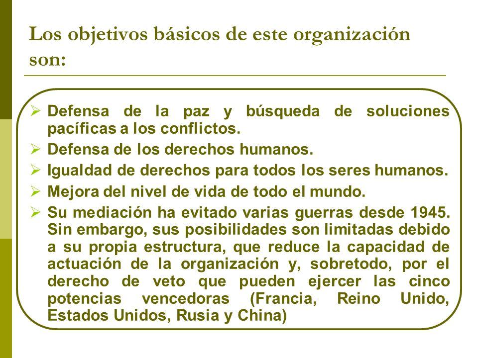 Los objetivos básicos de este organización son: Defensa de la paz y búsqueda de soluciones pacíficas a los conflictos. Defensa de los derechos humanos