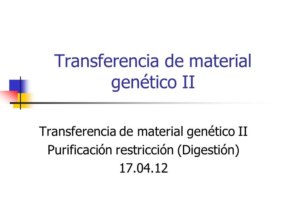 Transferencia de material genético II Purificación restricción (Digestión) 17.04.12
