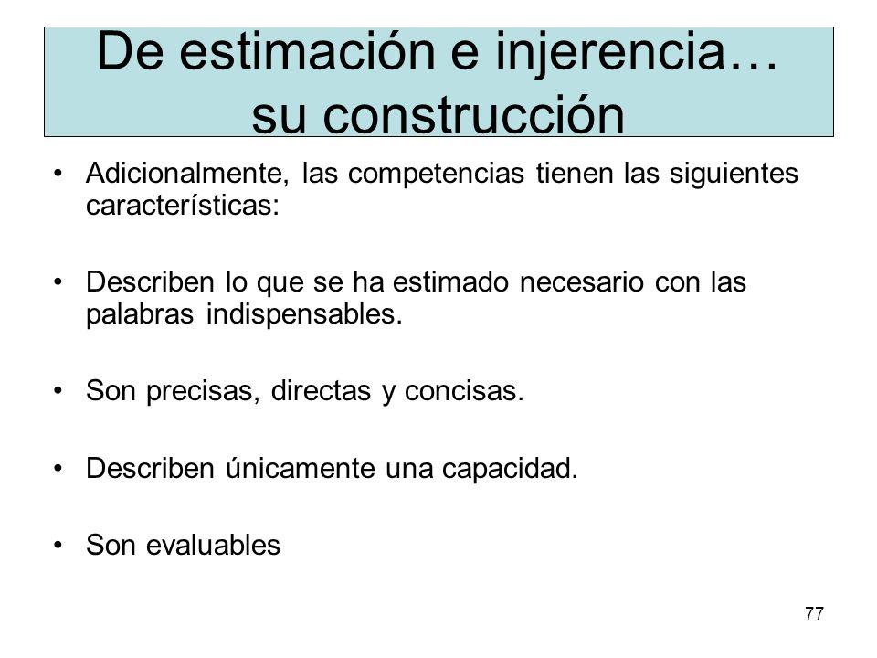 76 De estimación e injerencia… su construcción Las competencias disciplinares tienen la siguiente estructura: Inician con uno o más verbos de acción,