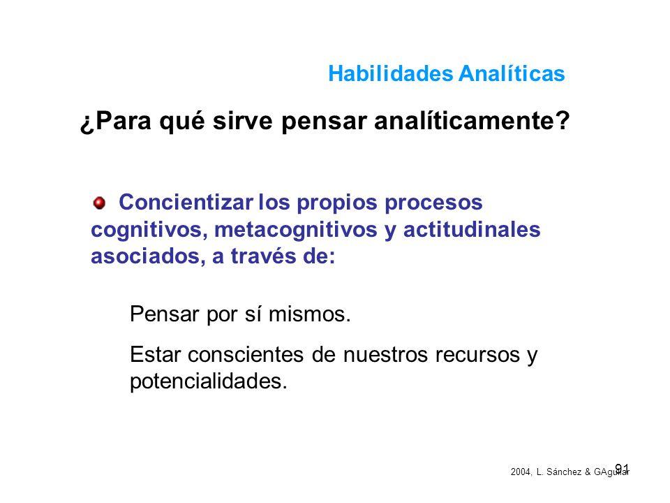 90 Habilidades Analíticas Toma de decisiones: Recopilación de la información. Análisis de la situación actual. Búsqueda de alternativas de solución Se