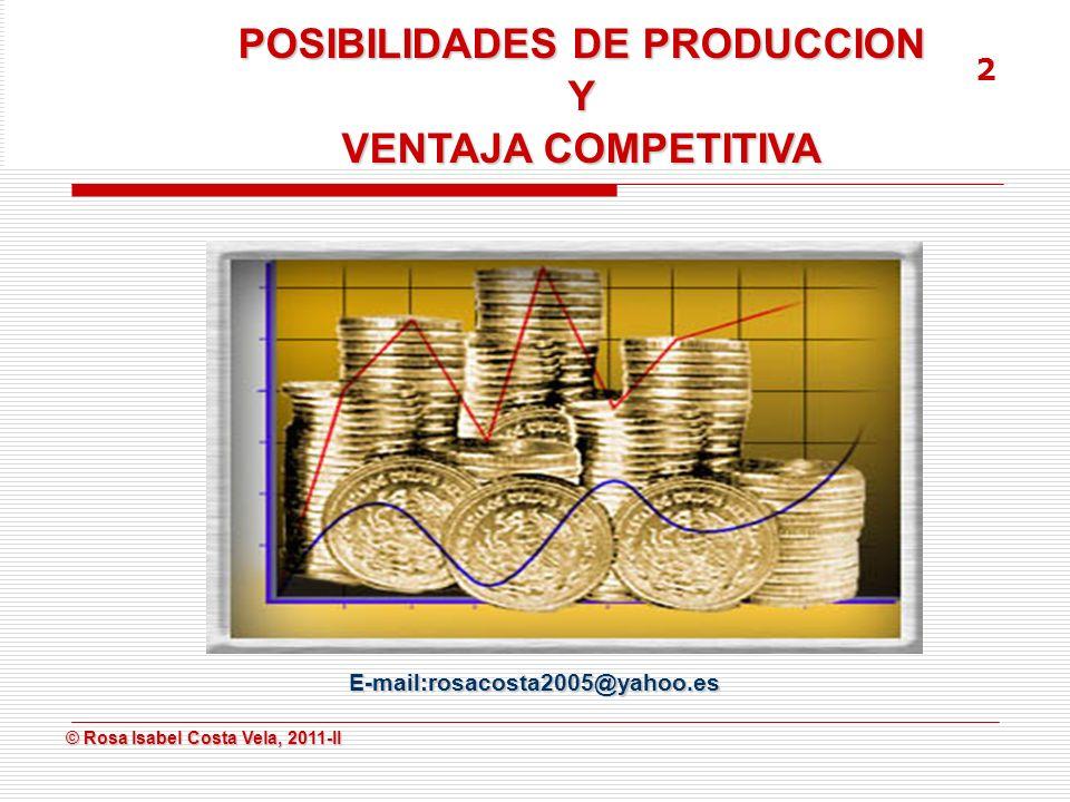 © Rosa Isabel Costa Vela, 2011-II © Rosa Isabel Costa Vela, 2011-II OBJETIVOS DE LA SESION Definir la curva de posibilidades de producción.