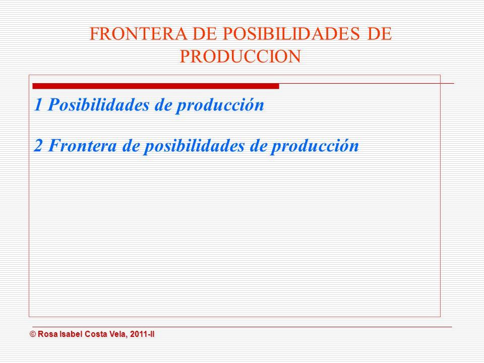 © Rosa Isabel Costa Vela, 2011-II © Rosa Isabel Costa Vela, 2011-II Posibilidades de producción Es la mayor cantidad de bienes que produce una empresa un país con los recursos disponibles.