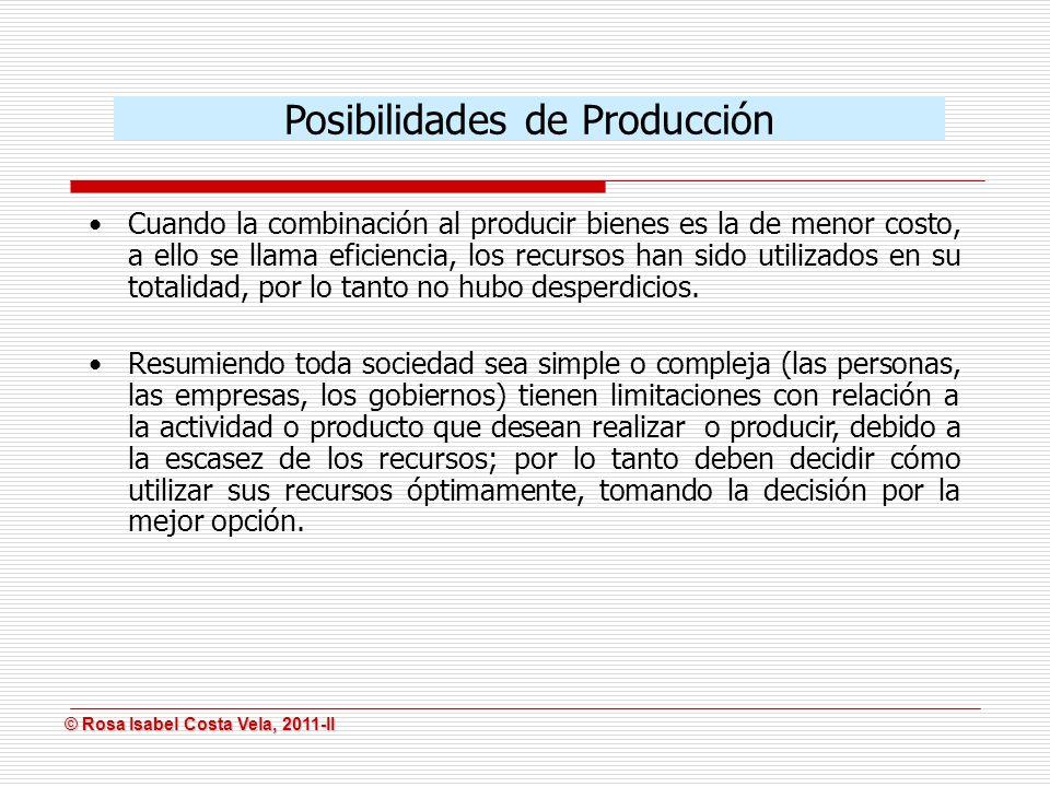 © Rosa Isabel Costa Vela, 2011-II © Rosa Isabel Costa Vela, 2011-II Cuando la combinación al producir bienes es la de menor costo, a ello se llama efi
