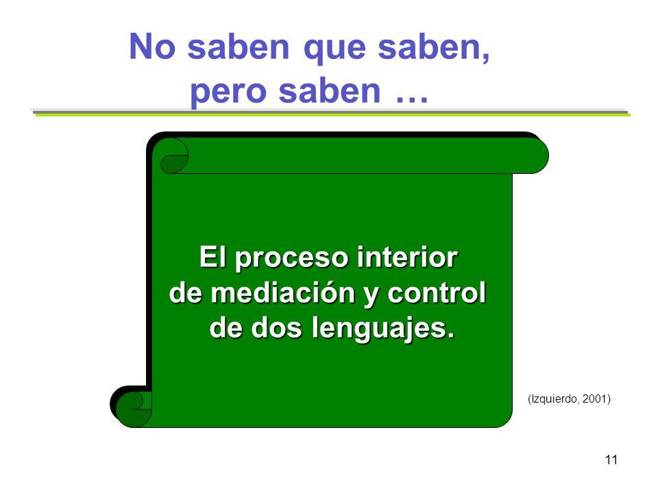 11 No saben que saben, pero saben … El proceso interior de mediación y control de dos lenguajes. El proceso interior de mediación y control de dos len