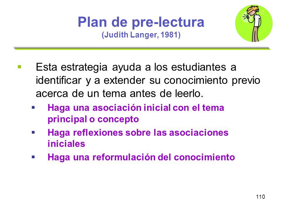 110 Plan de pre-lectura (Judith Langer, 1981) Esta estrategia ayuda a los estudiantes a identificar y a extender su conocimiento previo acerca de un t