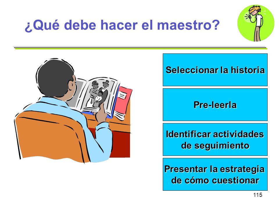115 ¿Qué debe hacer el maestro? Seleccionar la historia Pre-leerla Identificar actividades de seguimiento Presentar la estrategia de cómo cuestionar