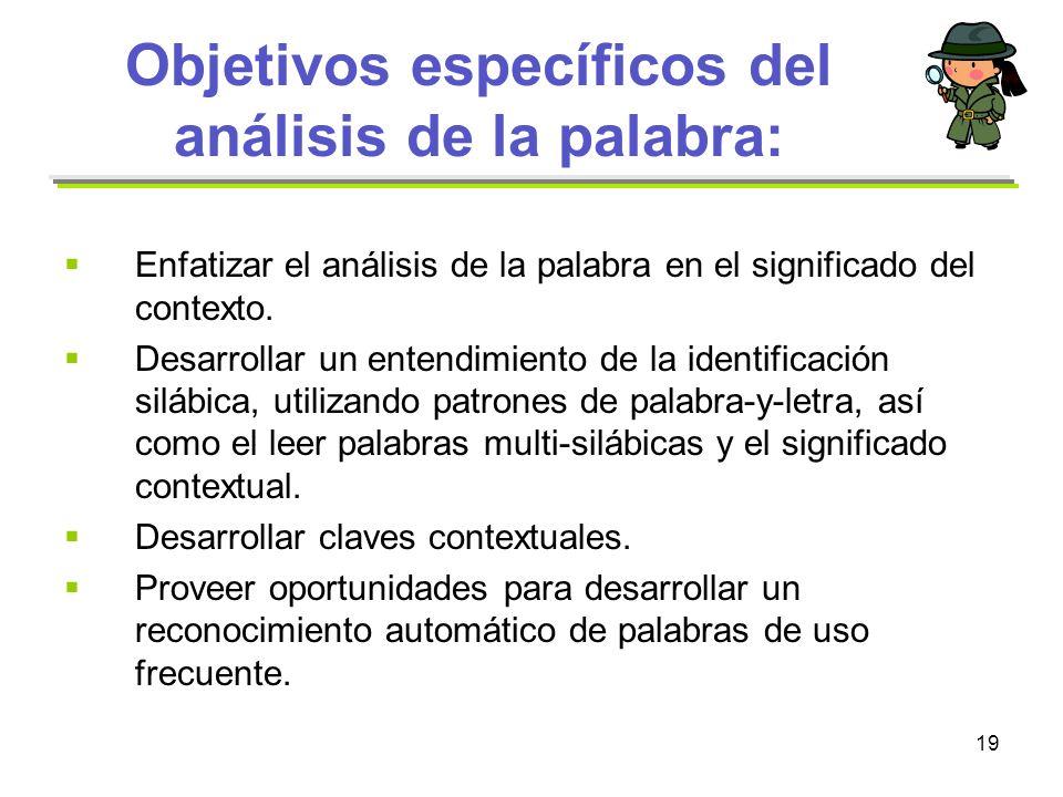 19 Objetivos específicos del análisis de la palabra: Enfatizar el análisis de la palabra en el significado del contexto. Desarrollar un entendimiento