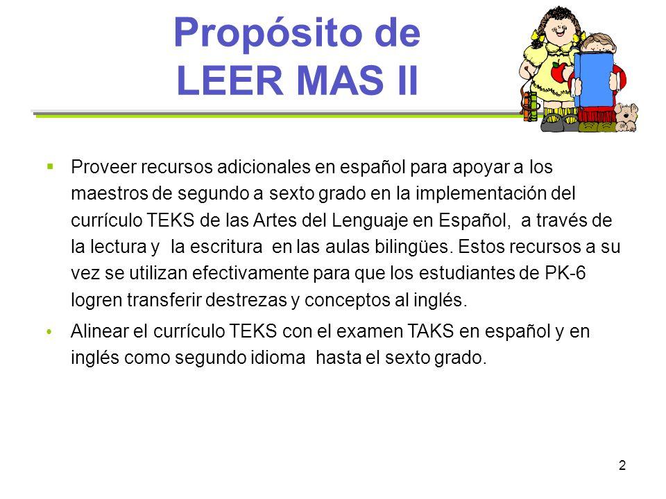 2 Propósito de LEER MAS II Proveer recursos adicionales en español para apoyar a los maestros de segundo a sexto grado en la implementación del curríc
