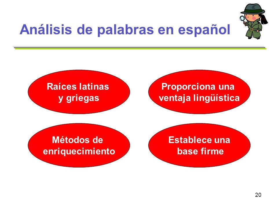 20 Análisis de palabras en español Raíces latinas y griegas Métodos de enriquecimiento Establece una base firme Proporciona una ventaja lingüística