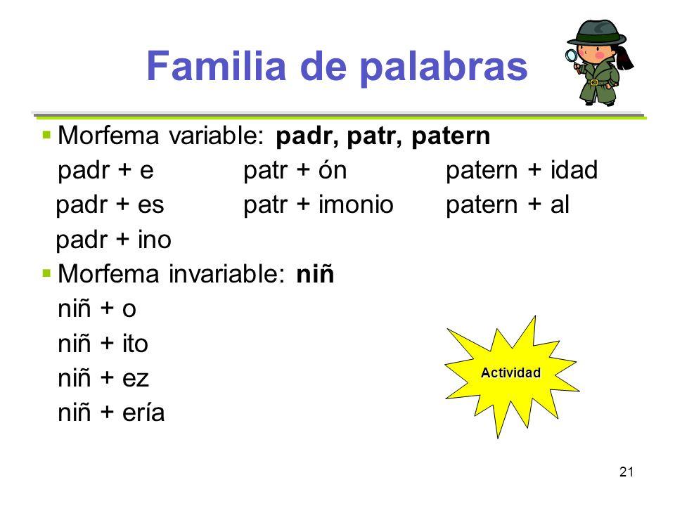 21 Familia de palabras Morfema variable: padr, patr, patern padr + epatr + ónpatern + idad padr + espatr + imoniopatern + al padr + ino Morfema invari