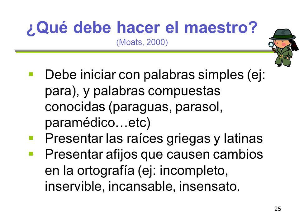 25 ¿Qué debe hacer el maestro? (Moats, 2000) Debe iniciar con palabras simples (ej: para), y palabras compuestas conocidas (paraguas, parasol, paraméd