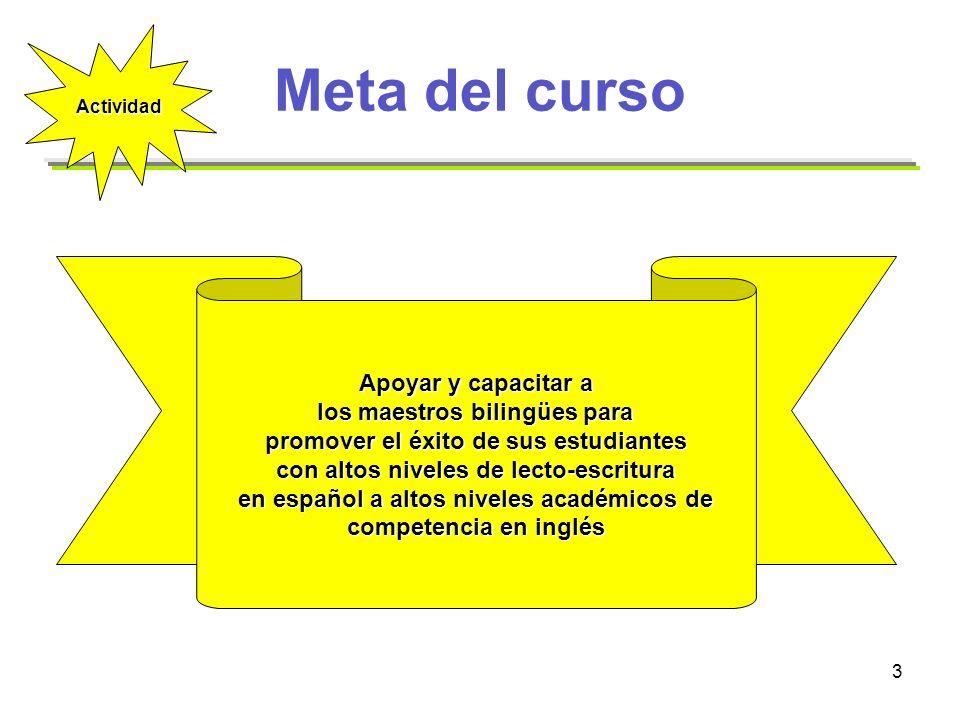 3 Meta del curso Apoyar y capacitar a los maestros bilingües para los maestros bilingües para promover el éxito de sus estudiantes con altos niveles d