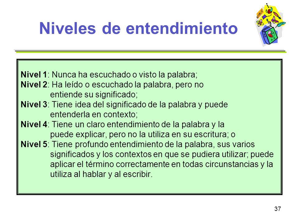 37 Niveles de entendimiento Nivel 1: Nunca ha escuchado o visto la palabra; Nivel 2: Ha leído o escuchado la palabra, pero no entiende su significado;