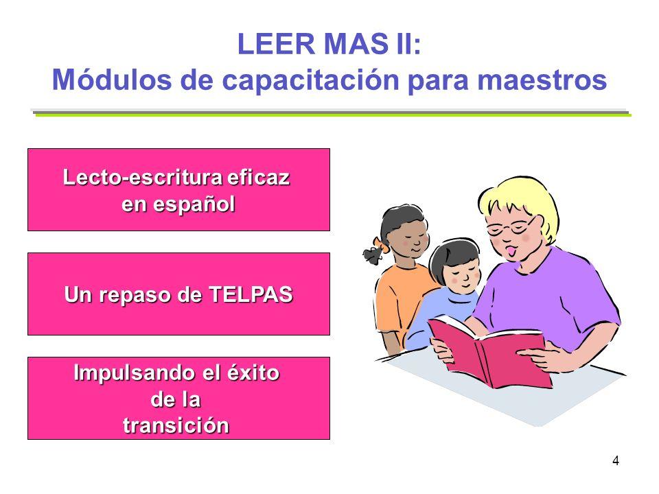 4 LEER MAS II: Módulos de capacitación para maestros Un repaso de TELPAS Lecto-escritura eficaz en español Impulsando el éxito de la transición