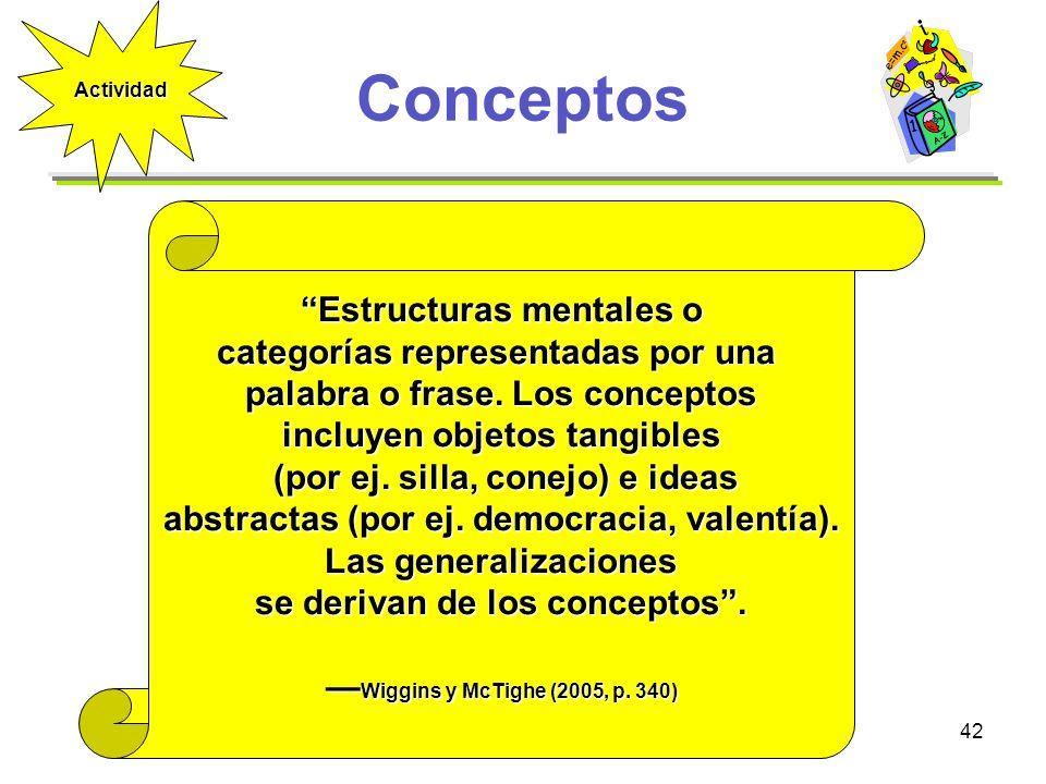 42 Conceptos Estructuras mentales o categorías representadas por una palabra o frase. Los conceptos incluyen objetos tangibles (por ej. silla, conejo)