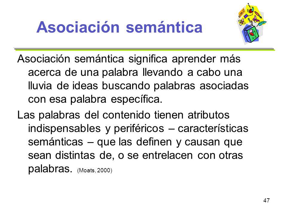 47 Asociación semántica Asociación semántica significa aprender más acerca de una palabra llevando a cabo una lluvia de ideas buscando palabras asocia