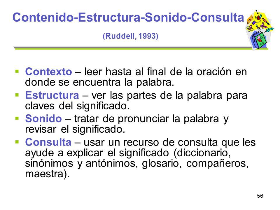 56 Contenido-Estructura-Sonido-Consulta (Ruddell, 1993) Contexto – leer hasta al final de la oración en donde se encuentra la palabra. Estructura – ve