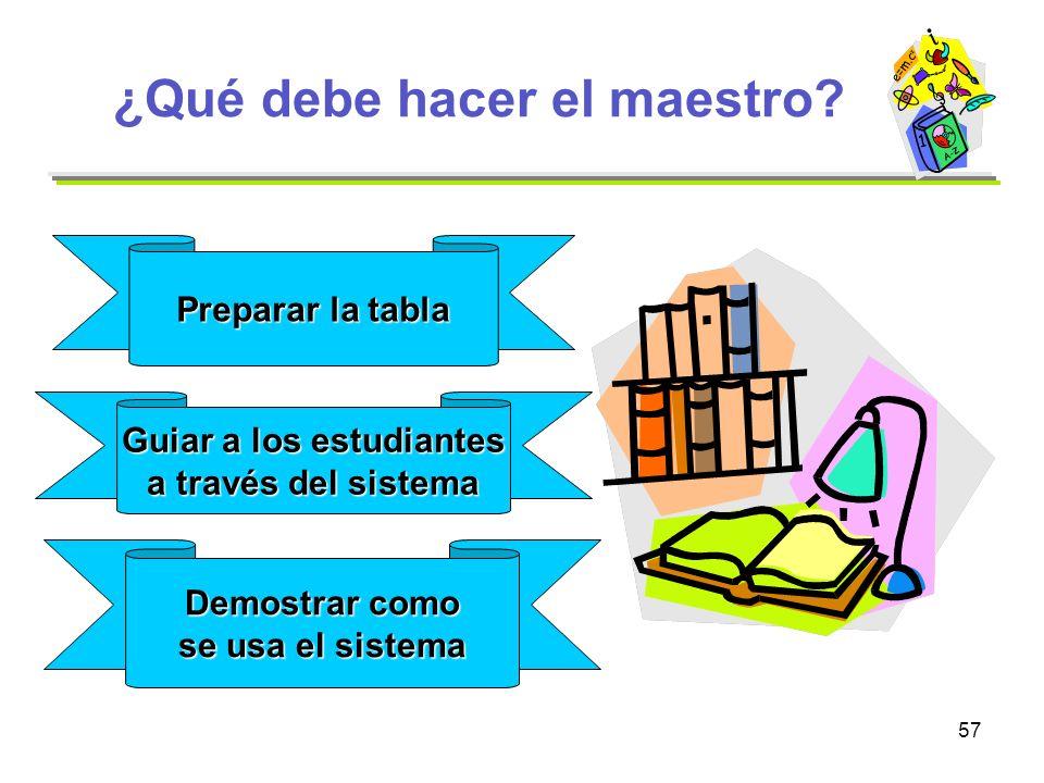 57 ¿Qué debe hacer el maestro? Preparar la tabla Guiar a los estudiantes a través del sistema Demostrar como se usa el sistema